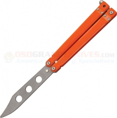 Bear Ops Bear Song IV Balisong Butterfly Training Knife (4.37 Inch Bead Blast Non-Sharpened Blunt-Tip Blade) Orange G10 Handle B201OR4PTR