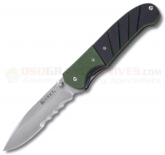 Columbia River CRKT 6855 Ignitor OutBurst Spring Assisted Folding Knife (3.38 Inch Bead Blast VEFF Combo Blade) Green/Black G10 Handle