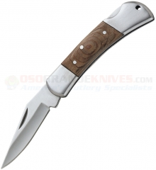 Meyerco Lockback Folding Hunter Knife (2.5 Inch 440 Satin Stainless Plain Blade) Wood Handle MBCAMP10