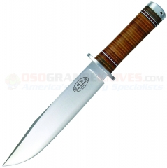 FallKniven NL2 Northern Light Odin Bowie Fixed (7.87 Inch Laminated VG-10 Satin Plain Blade) Stacked Leather Handle + Leather Sheath FNNL2