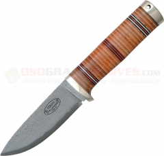 Fallkniven NL5 Northern Light Idun Hunting Knife Fixed (4.0 Inch Cowry X4 Damascus Plain Blade) Stacked Leather Handle + Leather Sheath FNNL5CX