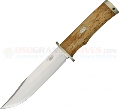 FallKniven SK6 Krut Bowie (6.2 Inch Satin Laminated Cobalt Steel Blade) Curly Birch Handle, Leather Sheath