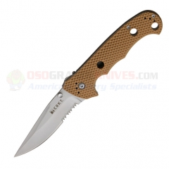 Columbia River CRKT Hammond Desert Cruiser Folding Knife (3.75 Inch Satin Combo Blade) Tan Zytel Handle 7914DI