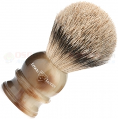 Edwin Jagger 3EJ462 English Shaving Brush, Silver Tip Badger, Imitation Light Horn, Large