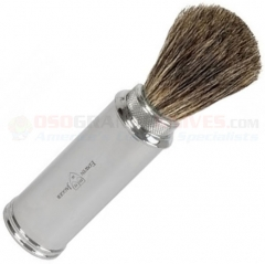 Edwin Jagger 81M529 Pure Badger Travel Shaving Brush, Nickel Plated