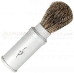 Edwin Jagger 81M530 Pure Badger Travel Shaving Brush, Silver Aluminum Handle