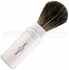 Edwin Jagger 81M538 Pure Badger Travel Shaving Brush, White Aluminum Handle