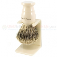 Edwin Jagger 9EJ877SDS English Shaving Brush, Best Badger, Imitation Ivory, Small with Drip Stand