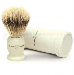 Edwin Jagger IVTSBBB Travel Shaving Brush, Best Badger, Imitation Ivory
