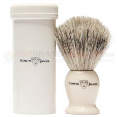 Edwin Jagger IVTSBSB Travel Shaving Brush, Super Badger, Imitation Ivory