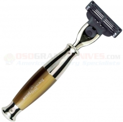 Edwin Jagger R35211 Mach 3 Razor (Bulbous Imitation Light Horn Handle) Nickel Plated Collar