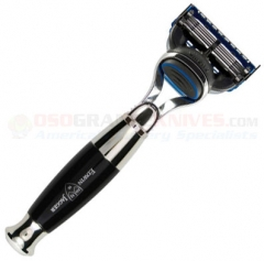 Edwin Jagger R35611F Fusion Razor (Bulbous Imitation Ebony Handle) Nickel Plated