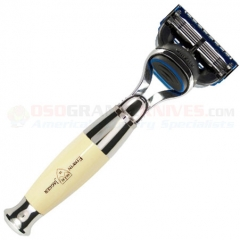 Edwin Jagger R35711F Fusion Razor (Imitation Ivory Handle) Nickel Plated Collar