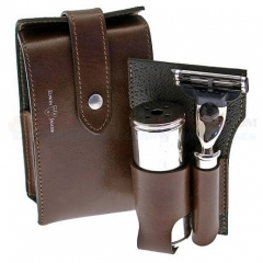 Edwin Jagger RT2M3 Travel Shaving Set, Mach 3 Razor and Travel Shaving Brush, Brown Genuine Leather Case