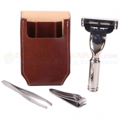 Edwin Jagger RT4M3 Travel Shaving Set, Mach 3 Razor, Tweezers and Nail Clippers, Brown Genuine Leather Case