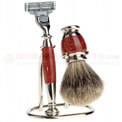Edwin Jagger Mach 3 Razor 3-Piece Shaving Set (Briar Wood/Nickel Plated Handle) Best Badger Shaving Brush with Stand S281M213
