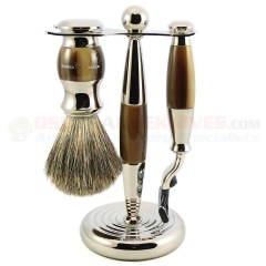 Edwin Jagger S81M35211 3-Piece Set, Mach 3 Razor, Imitation Light Horn/Nickel Plated, Pure Badger Shaving Brush with Stand