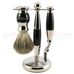 Edwin Jagger S81M35611 3-Piece Set, Mach 3 Razor, Imitation Ebony/Nickel Plated, Pure Badger Shaving Brush with Stand
