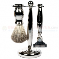 Edwin Jagger S81M35911 3-Piece Set, Mach 3 Razor, Nickel Plated, Pure Badger Shaving Brush with Stand