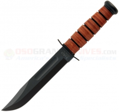 KA-BAR 1217 USMC Fighting Utility Knife Fixed (7 Inch 1095 Cro-Van Black Plain Blade) Leather Handle + Leather Sheath 2-1217-8