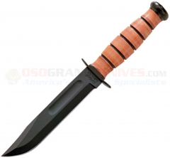 KA-BAR Short USA Fighting/Utility Knife Fixed (5.25 Inch 1095 Cro-Van Black Plain Blade) Leather Handle + Leather Sheath 1251
