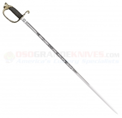 Cold Steel 88MNAL US Naval Officers Sword (32 Inch 1055 Carbon Steel Blade) Ray Skin Handle Leather Scabbard