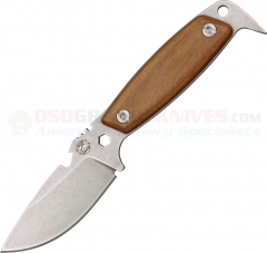 DPx Gear HEST II Woodsman Fixed (3.15 Inch Sleipner Tool Steel Stonewashed Plain Blade) Brazillian Santos Hardwood Handle + Leather Sheath DPXHESTIIW