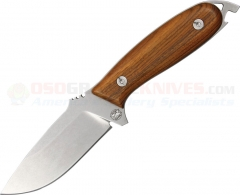 "DPx Gear H.E.F.T. 4 Woodsman Fixed 4"" Stonewash Blade, Wood Handles, Leather Sheath"