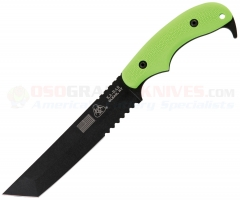 Kabar ZK Famine Tanto Fixed Blade USA Made, Lime Green Handle, Black Blade, ComboEdge 5700