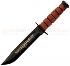 Kabar 9149 USN POW MIA Commemorative Fighting/Utility Knife, PlainEdge, Leather Sheath
