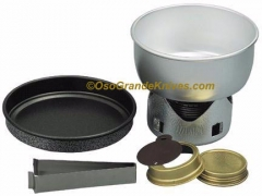 Mini Trangia 28-T Backpacking Stove & Cookset, 0.8 Liter Alum pan, Fry pan, Spirit Burner w/ windshield and handle