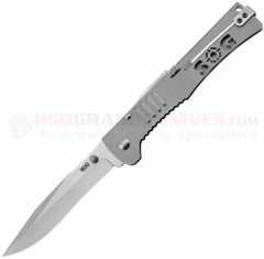 SOG SJ-51 SlimJim XL Assisted Opening Folding Knife (4.18 Inch Clip Point Satin Plain Blade) Bead Blast Stainless Handle