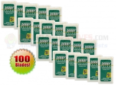 Derby Extra Double Edge Safety Razor Blades (100 Count-20 Sealed Packages of 5) DE114