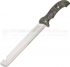 Camillus Carnivore Titanium Bonded Knife Fixed (11.87 Inch 440 Combo Blade) Rubber Camo Handle + Nylon Sheath CM19074
