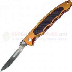 Havalon XT60ATLC Piranta Torch Folding Skinning Knife, #60A Scalpel Blade, Light Copper Aluminum Handle