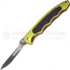 Havalon XT60ATLM Piranta Torch Folding Skinning Knife, #60A Scalpel Blade, Lime Green Aluminum Handle