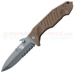FOX Knives Col Moschin Delta Spec Ops Wave Opening Folding Knife (4.21 Inch N690 Black DLC Combo Blade) Brown G10 Handle | Display Case 09CM01E