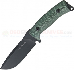 FOX Knives FX-131-M Pro Hunter Fixed (4.3 Inch N690Co Black Plain Blade) Green and Black Micarta Handle | Black Leather Sheath FOX131MGT