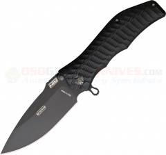 HTM Knives Darrel Ralph DDR Gunhammer Torpedo Assisted, Black PlainEdge, Black Aluminum Handles