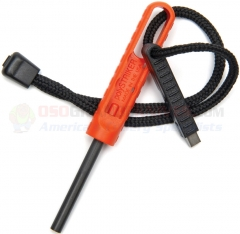 Exotac polySTRIKER Ferrocerium Fire Starter (4.25 Inch Overall) Orange Polymer Handle + Cord Lanyard + Tungsten Carbide Striker ET1600ORG