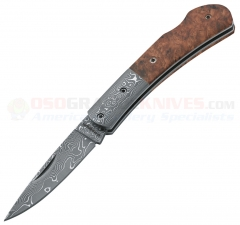 Boker Magnum Damascus Quincewood Folding Knife (2.5 Inch Damascus Plain Blade) Quincewood Handle with Damascus Bolsters 01MB550DAM