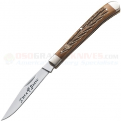 Boker Single Blade Slim Line Trapper Pocket Knife (4.0 Inches Closed) Jigged Brown Bone Handle 110735