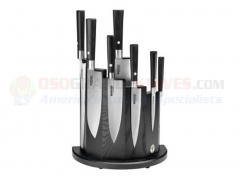 Boker Damascus Black Kitchen Knife 8-Piece Block Set (Black Wood Magnetic Base Included) 130425SET