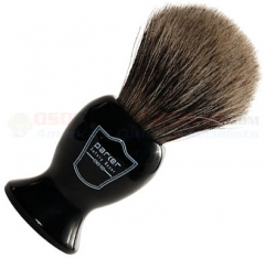 Parker Pure Badger Shave Brush, Long Black Resin Handle, BKPB