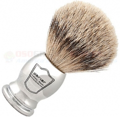 Parker Silver Tip Badger Shave Brush, Chrome Handle, CHST