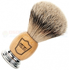 Parker Silver Tip Badger Shave Brush, Deluxe Olive Wood/Chrome Handle, OWST