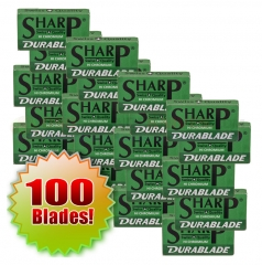 Sharp Hi Chromium Stainless DuraBlades (Double-Edge Razor Blades) 100 Ct (10 x 10) Card
