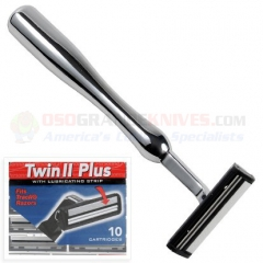 Parker Trac 2 (Trac II) Twin Blade Chrome Handle Razor-All Metal Construction (Includes 10 Personna Twin Blade Cartridges) TwinHan