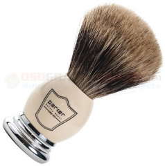 Parker Pure Badger Deluxe Shave Brush (4.09 Inches Overall) 1.89 Inch White/Chrome Handle + Free Brush Stand WHPB