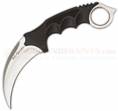 United Cutlery Honshu Karambit Fixed (4.0 Inch Hawkbill Satin Plain Blade) Overmolded Handle, Leather Sheath 2786